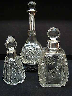 Three Antq Cut Glass Perfume/scent Bottles  Sterling Silver Necks & Faceted Lids