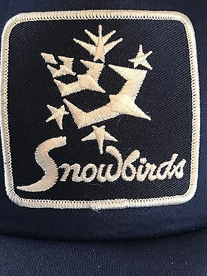 Vintage Snowbirds Flying Squad Patch Blue & White Mesh Truckers Hat Snap Back