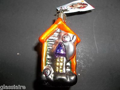 INGE Blown Glass HAUNTED HOUSE Halloween Christmas Ornament SCARY Ghosts  MWT
