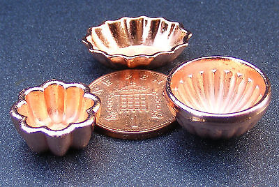 1:12 Scale 3 Copper Jelly Moulds Dolls House Miniature Kitchen Accessories