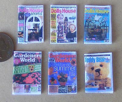 1:12 Scale Set Of 6 Paper Books Hobby Magazines Dolls House Miniature Nursery A1