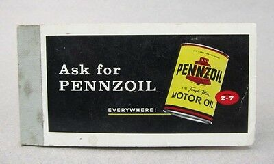 1960's ASK FOR PENNZOIL MOTOR OIL Z-7 Pocket Note Pad.  unused