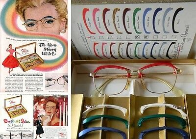 50s - AMERICAN OPTICAL FLAMETTES - EYEGLASSES FRAMES WITH INTERCHANGEABLE BROWS