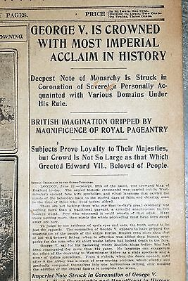 1911 St. Louis Newspaper - England George V Crowned King With Imperial Acclaim