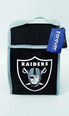 """Oakland Raiders Lunch Bag Cooler Tote New NFL 8"""" x 11"""" x 4"""" Black"""