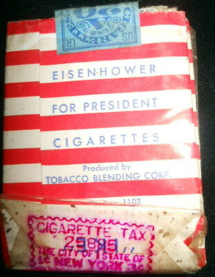 """I Like Ike""  DWIGHT D.  EISENHOWER FOR PRESIDENT Cigarettes One Pack RARE"