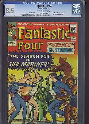 FANTASTIC FOUR #27 CGC VF+ 8.5; OW-W; Kirby cover/art; 1st Dr. Strange x-over!