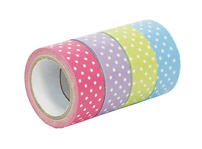 1x Pack 4 Tapes Adhesive Decorated Washi Tape Dots Colours 5m x 15mm