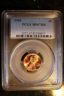 1985 Lincoln Cent * Pcgs Ms67Rd * Very Nice Flashy High End Coins