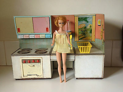 Vintage Rare Fuch's Germany Tin Toy Kitchen Barbie Doll Size Retro Modernist 60s