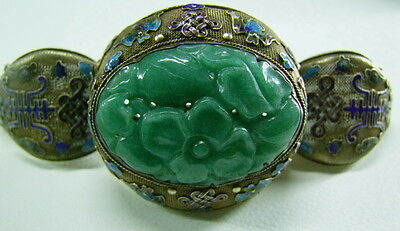 Rare Antique Chinese Export Jade Mila Cloisonne Silver Bangle