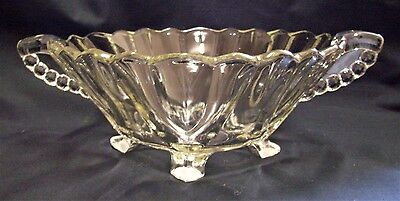 Depression Glass Large Art Deco Fruit Bowl Footed Exc Con