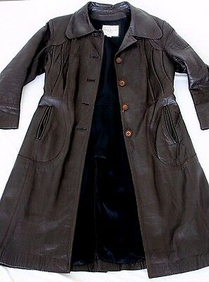 English Domestic Nappa women's vintage leather trench coat size 14