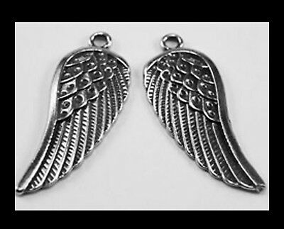 PEWTER CHARM #297 x 2 ANGEL WINGS 14mm x 35mm WINGS (matching pair)