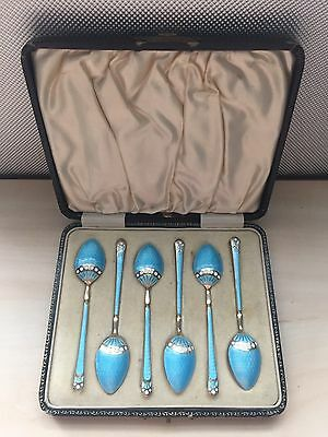 Solid Sterling Silver Turquoise Guilloche Enamel Spoon Set Hallmarked T&S 1932