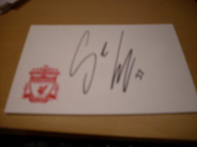 signed card of ex liverpool footballer sebastian leto