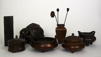 A Collection of One tray of Incense Burners, Cencers, Vase and Incense Holder