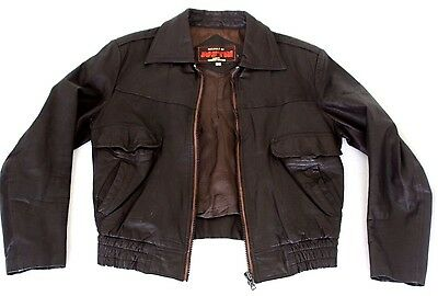 Justin mens vintage leather bomber jacket size 40