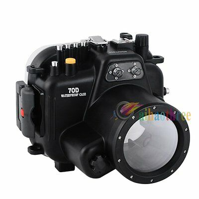 Meikon 40m 130ft Waterproof Diving Case Cover For Canon 70D 18-135mm Camera【AU】