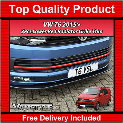 VW TRANSPORTER T5.1 UPPER /& LOWER GRILL STYLING STRIP RED