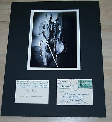 PABLO CASALS -  AUTOGRAPHED calling Card    Signed  from 1955