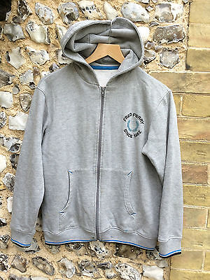 Vtg Grey Fred Perry Hoodie Size Small Sweater Jumper Zip Up Jacket
