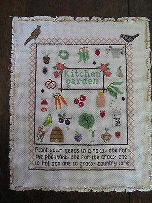 Garden Themed Embroidered Picture Completed cross stitch panel