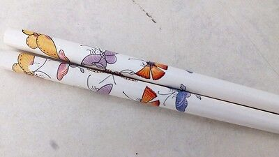 Color Butterfly White Short Chopsticks Hair Stick Chinese Fancy Women Party A4