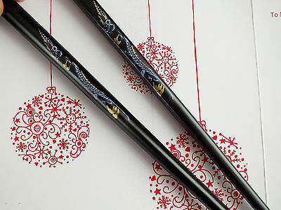 Japanese Chopsticks Black Gold Dragon Chinese Birthday Dinner Party Hair Stick