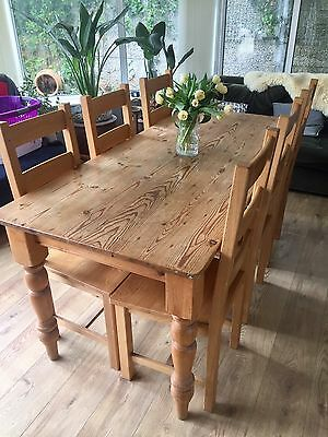Solid Oak Dining Table and 6 Chairs Farmhouse style