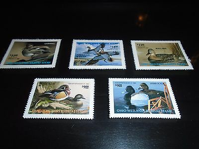 Lot of 5 Ohio Duck Stamps Wetland 1991 1992 1997-99