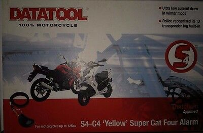 """DATATOOL ALARM S4-C4 """"YELLOW""""    FOR MOTORCYCLES SCOOTERS AND MOPEDS UP TO 125cc"""