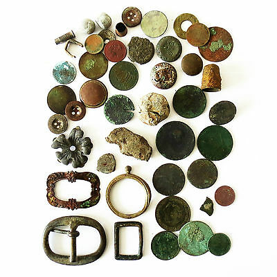 Large Job Lot Collection Of Metal Detecting Finds Including Coins & Buckles (C)