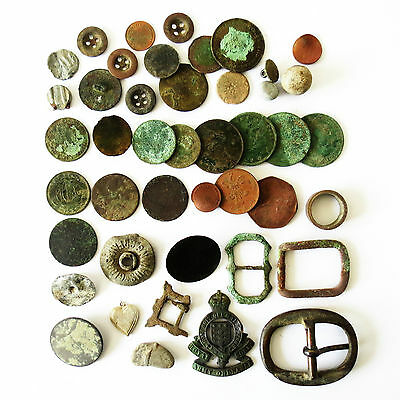 Large Job Lot Collection Of Metal Detecting Finds Including Coins & Buckles (D)
