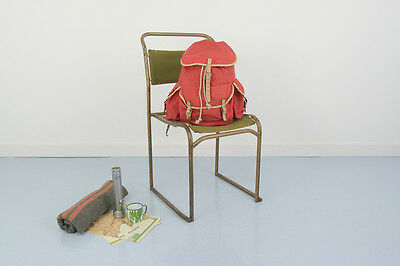 Vintage Red Nylon and Leather Climbing Walking Backpack Bag Rucksack