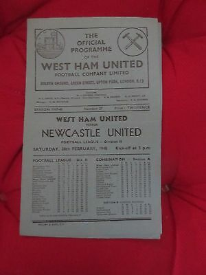 1947-48 West Ham v Newcastle  February 28, 1948