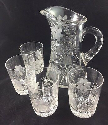 """American Brilliant 8 3/4"""" Pitcher & 4 Tumblers, Floral Cane ABP, Signed Libbey"""