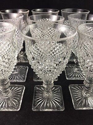 """Set of 9 Westmoreland Clear ENGLISH HOBNAIL 6 1/4"""" Water / Wine Goblets, Square"""