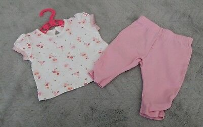 Baby Girls Pink Leggings & White Floral Printed Top Outfit/Set (First Size)