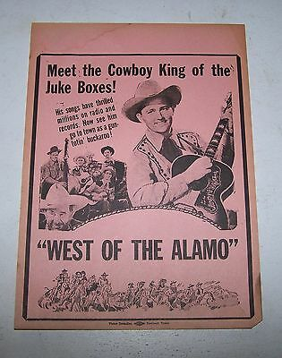 "Jimmy Wakely ""West of the Alamo"" 1946  orig Cowboy Movie Theater herald"