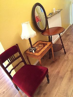 Vintage Antique Furniture Bundle Nursing Chair Mirror Desk Stool