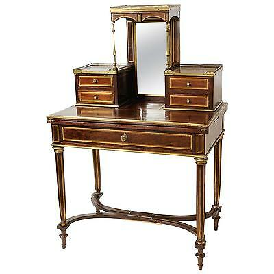 Superb Quality Antique French Mahogany Ladies Writing Desk Brass Inlay