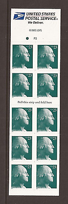 US ~ #3618c 2002 23c WASHINGTON Mint Unfolded Booklet Pane of 10 P#P3 - MNH