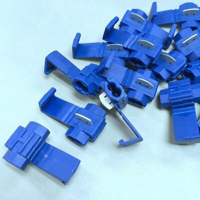 50pcs x 3MB BLUE QUICK SPLICE WIRE GA 18-14 STRIPPING TAP CABLE CONNECTOR #UKgtc