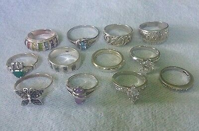 12 pc LOT Sterling Silver Vintage RINGS.  Xbk