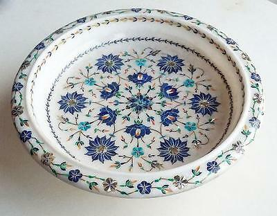 "16"" White Marble Fruit Bowl Inlay Lapis Work Handmade Home Decor & Gifts"
