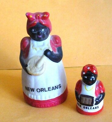 Vintage New Orleans Souvenir Mammy Doll Figurine. AND Matching thimble..
