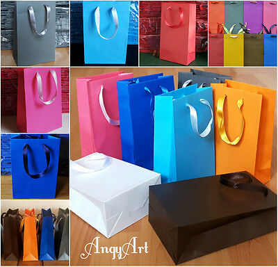 10 Paper Gift Party Bags White Red Grey Pink Royal Blue Hen Wedding Gift Shops