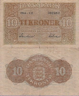 Denmark 10 Kroner Banknote,1944 Very Good Condition Cat#36-2482