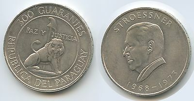 GS319 - Paraguay 300 Guaranies 1973 KM#29 Silber Präsident Stroessner 1968-1973